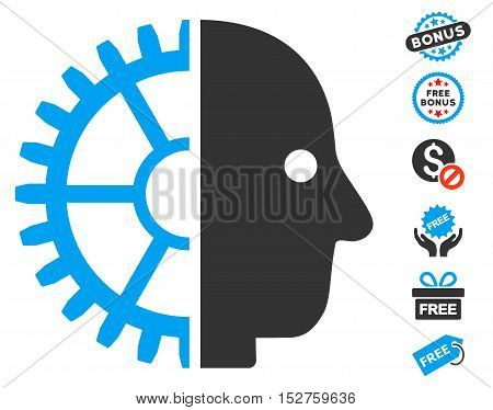 Cyborg Head pictograph with free bonus images. Vector illustration style is flat iconic symbols, blue and gray colors, white background.