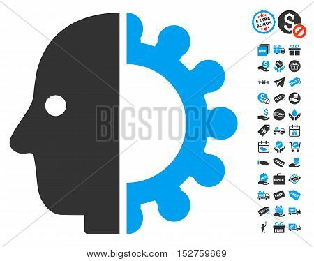 Cyborg Head pictograph with free bonus graphic icons. Vector illustration style is flat iconic symbols, blue and gray colors, white background.