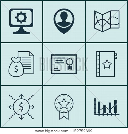Set Of 9 Universal Editable Icons For Project Management, Education And Statistics Topics. Includes