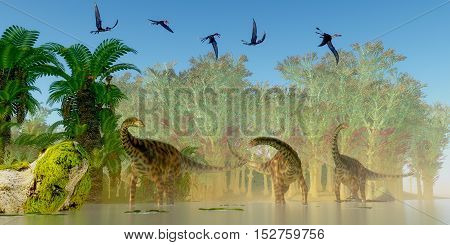 Spinophorosaurus Dinosaurs Swamp 3D Illustration - A flock of Dorygnathus reptiles fly over a herd of Spinophorosaurus sauropod dinosaurs in a Jurassic swamp.