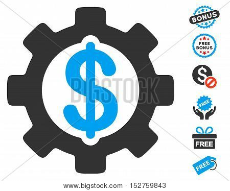 Development Cost pictograph with free bonus pictures. Vector illustration style is flat iconic symbols, blue and gray colors, white background.