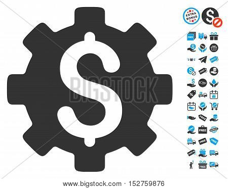 Development Cost pictograph with free bonus graphic icons. Vector illustration style is flat iconic symbols, blue and gray colors, white background.