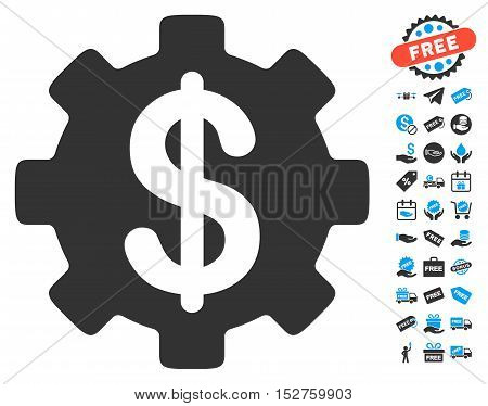 Development Cost icon with free bonus images. Vector illustration style is flat iconic symbols, blue and gray colors, white background.
