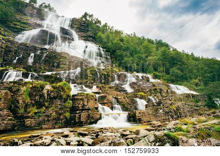 Waterfall Tvindefossen Is Largest And Highest Waterfall Of Norway, Its Height Is 152 M. Famous Natural Landmark