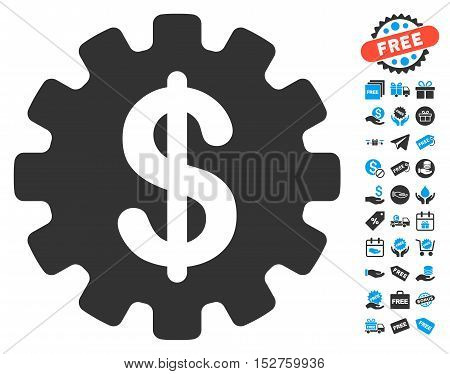 Development Cost icon with free bonus pictograph collection. Vector illustration style is flat iconic symbols, blue and gray colors, white background.