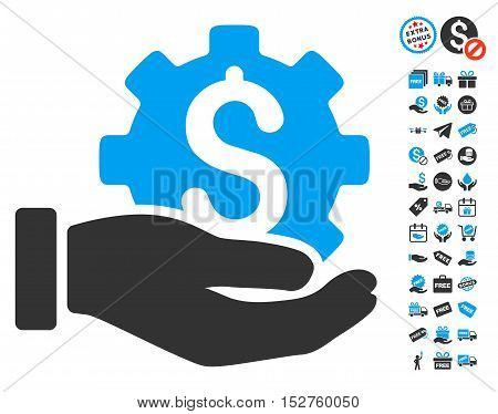 Development Service pictograph with free bonus pictograms. Vector illustration style is flat iconic symbols, blue and gray colors, white background.