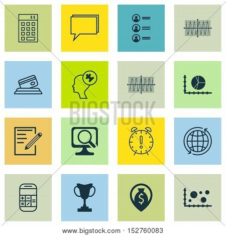 Set Of 16 Universal Editable Icons For Statistics, Airport And Education Topics. Includes Icons Such