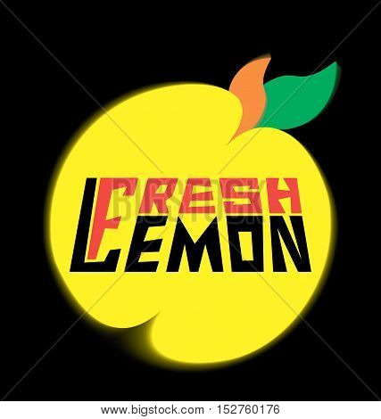 logo fresh lemon with leaves on a black background
