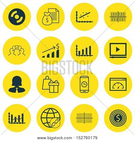 Set Of 16 Universal Editable Icons For Statistics, Computer Hardware And Human Resources Topics. Inc