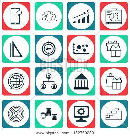 Set Of 16 Universal Editable Icons For Business Management, Education And Marketing Topics. Includes