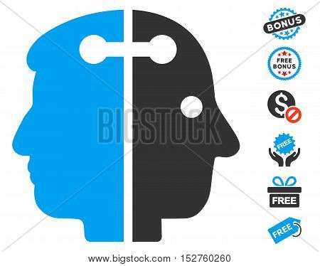 Dual Head Connection pictograph with free bonus pictograms. Vector illustration style is flat iconic symbols, blue and gray colors, white background.