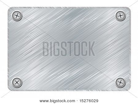 Silver metal plaque with brushed metal surface and screws