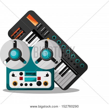 Recorder and piano instrument icon. Music sound musical and communication theme. Colorful design. Vector illustration