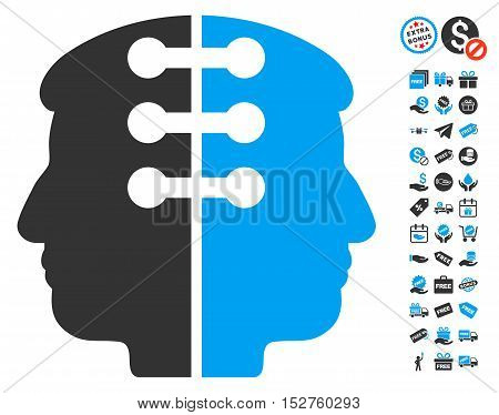 Dual Head Interface pictograph with free bonus clip art. Vector illustration style is flat iconic symbols, blue and gray colors, white background.