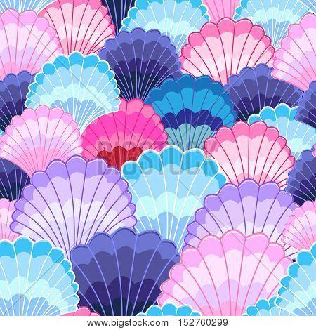 Bright fun graphics beautiful pattern of seashells