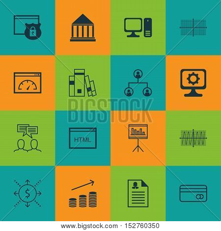 Set Of 16 Universal Editable Icons For Computer Hardware, Statistics And Project Management Topics.