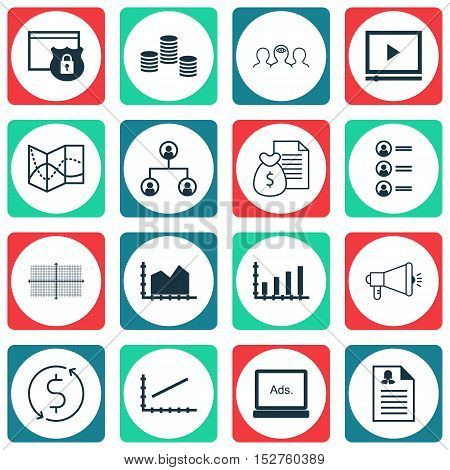 Set Of 16 Universal Editable Icons For Marketing, Business Management And Seo Topics. Includes Icons