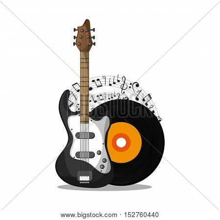 Vinyl and guitar instrument icon. Music sound musical and communication theme. Colorful design. Vector illustration