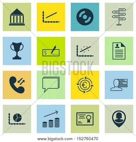 Set Of 16 Universal Editable Icons For Seo, Travel And Computer Hardware Topics. Includes Icons Such