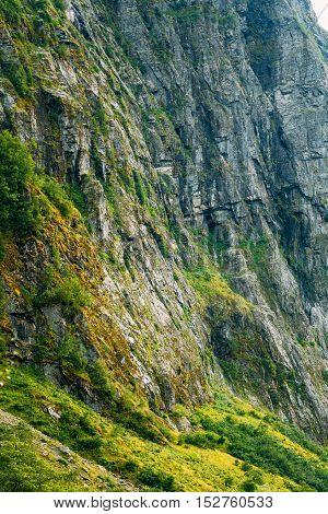 Norwegian Nature Mountain Rock. Natural Background. Scandinavia