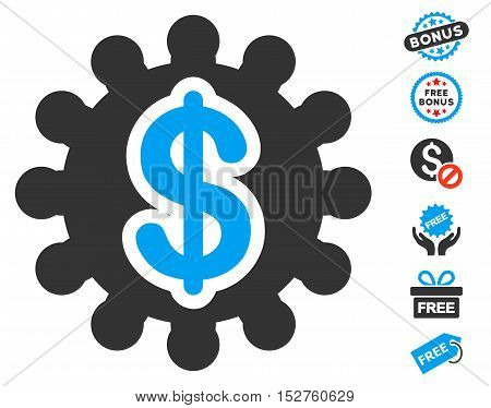 Financial Options Gear pictograph with free bonus graphic icons. Vector illustration style is flat iconic symbols, blue and gray colors, white background.