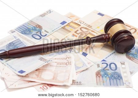 Judge gavel euro banknotes and calculator isolated