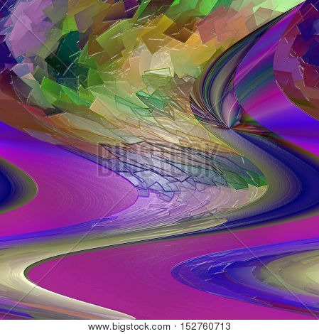 Abstract coloring background of the purples gradient with visual pagecurl,cubism, lighting, shear  and plastic wrap effects, good for your project design