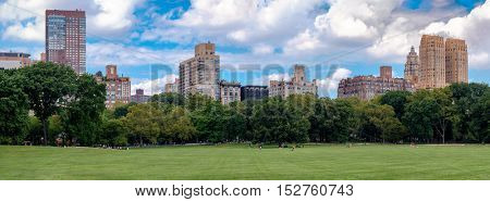 High resolution panorama of the Sheep Meadow in Central Park, New York City