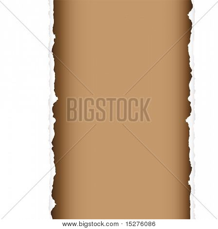 brown background with torn edges and white paper strip