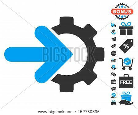 Gear Integration icon with free bonus graphic icons. Vector illustration style is flat iconic symbols, blue and gray colors, white background.
