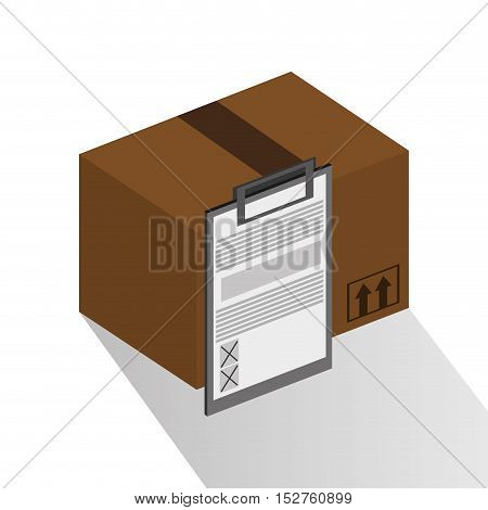 Package and checklist icon. Delivery shipping and logistic theme. Colorful design. Vector illustration