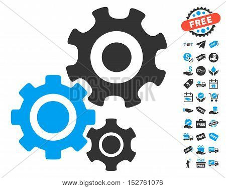 Gear Mechanism pictograph with free bonus pictures. Vector illustration style is flat iconic symbols, blue and gray colors, white background.