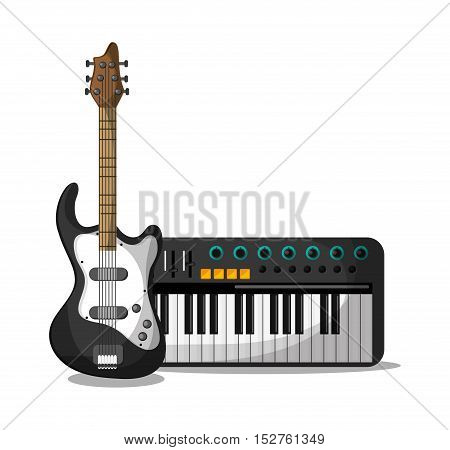 Piano and guitar instrument icon. Music sound musical and communication theme. Colorful design. Vector illustration