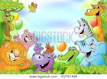 Cartoon animals, cheerful background with free space for text