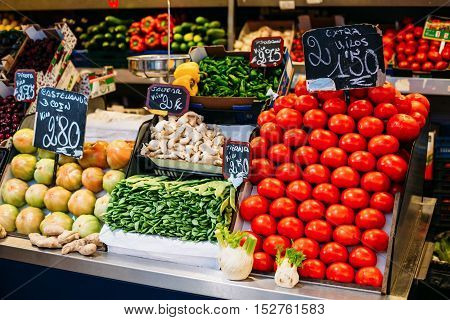 Tomatoes, Pea Pods And Other Agricultural Products Of Local Farmers In The Grocery Market.