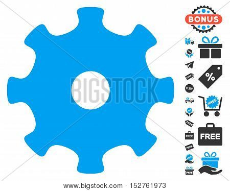 Gear icon with free bonus graphic icons. Vector illustration style is flat iconic symbols, blue and gray colors, white background.
