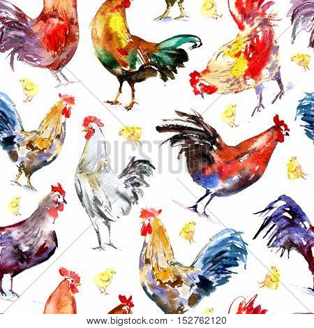 Seamless pattern with rooster and chicken.Sketch.Symbol of the new year 2017.Watercolor hand drawn illustration.White background.