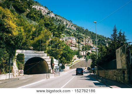 Monte-Carlo, Monaco - June 28, 2015: Movement of vehicles on freeway, motorway near in suburb of Monaco, Monte Carlo.