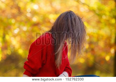 Beauty Girl In Autumnal Time Relax Outdoors.