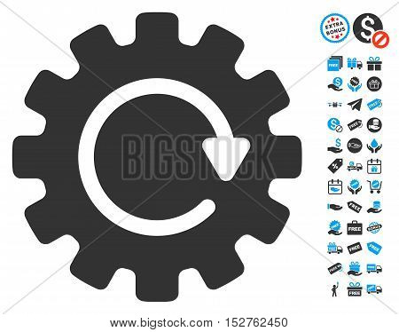 Gearwheel Rotation pictograph with free bonus clip art. Vector illustration style is flat iconic symbols, blue and gray colors, white background.