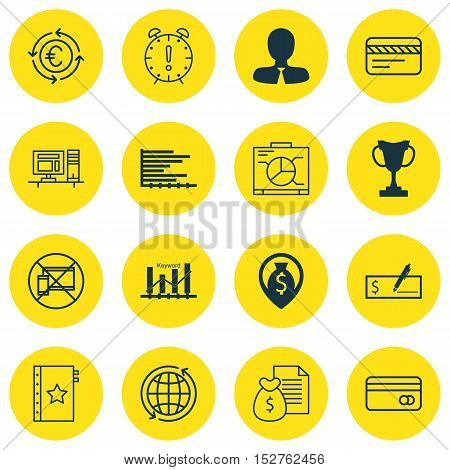 Set Of 16 Universal Editable Icons For Human Resources, Travel And Project Management Topics. Includ