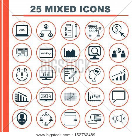 Set Of 25 Universal Editable Icons For Seo, Human Resources And Advertising Topics. Includes Icons S