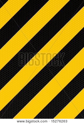Yellow and black diagonal stripe warning background with hexagon pattern