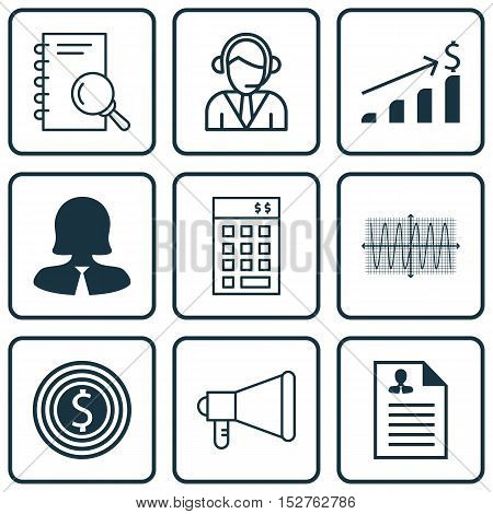 Set Of 9 Universal Editable Icons For Project Management, Human Resources And Statistics Topics. Inc