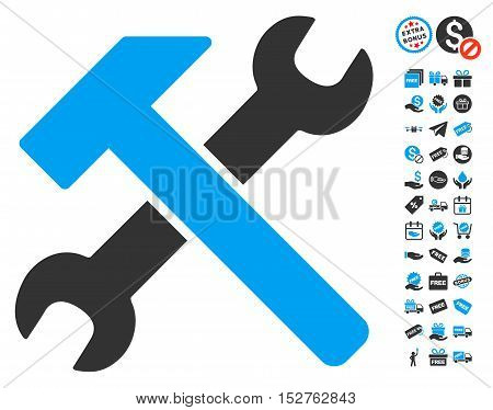 Hammer and Wrench pictograph with free bonus icon set. Vector illustration style is flat iconic symbols, blue and gray colors, white background.