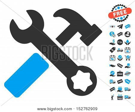 Hammer and Wrench icon with free bonus icon set. Vector illustration style is flat iconic symbols, blue and gray colors, white background.