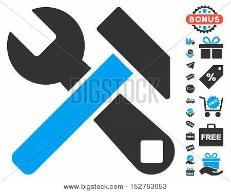 Hammer and Wrench pictograph with free bonus pictograph collection. Vector illustration style is flat iconic symbols, blue and gray colors, white background.
