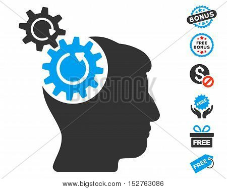 Head Cogs Rotation pictograph with free bonus symbols. Vector illustration style is flat iconic symbols, blue and gray colors, white background.