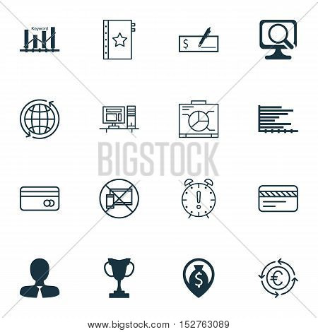 Set Of 16 Universal Editable Icons For Advertising, Airport And Statistics Topics. Includes Icons Su
