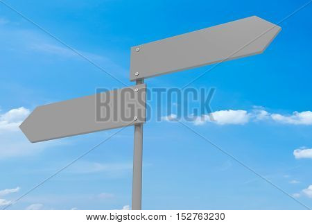 Blank Road Signs Pointing In Opposite Directions 3d illustration